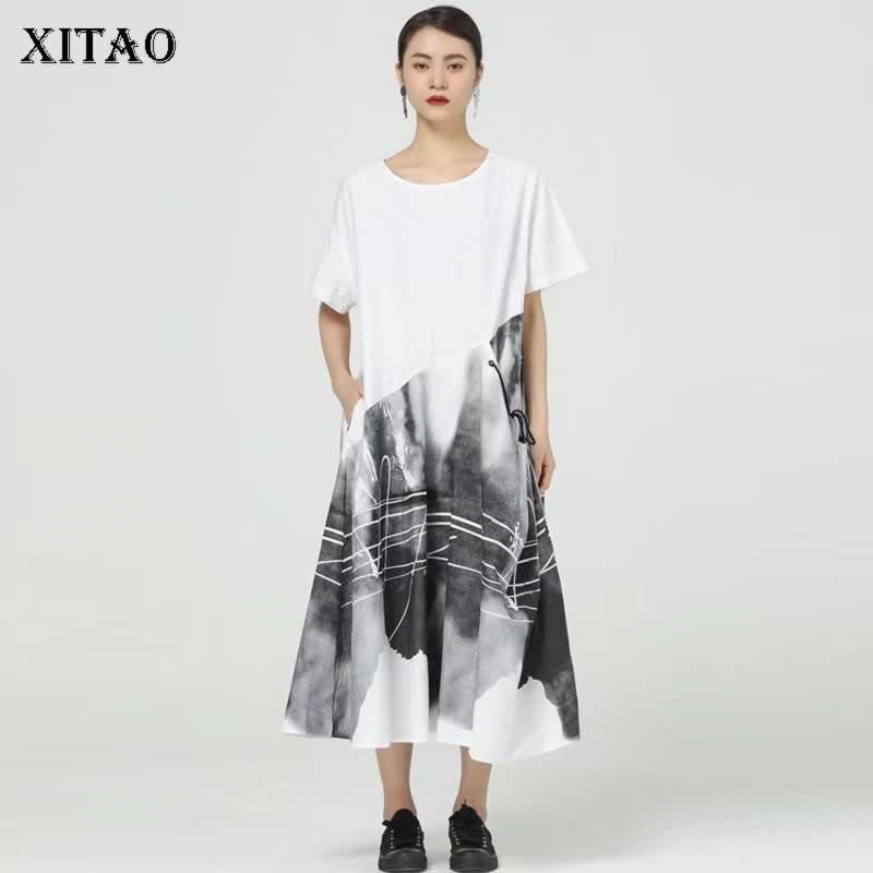 XITAO طباعة المرقعة فستان كاجوال المرأة المد موضة جديدة نمط س طوق الرقبة قصيرة الأكمام البلوز جيب أنيق فضفاض WMD0543