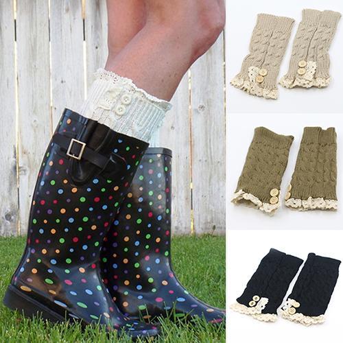 Feminino menina crochê malha rendas guarnição boot punhos toppers perna aquecedores meias de inverno
