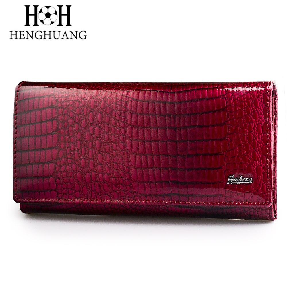 Marca HH, billeteras de piel auténtica para mujer, monederos de embrague para mujer, billetera larga de lujo con charol de cocodrilo
