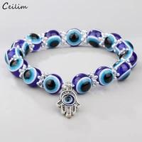 turkish blue eye bracelets for women fashion hamsa hand charms fatima palm bangle elastic beads chain lucky jewelry gifts