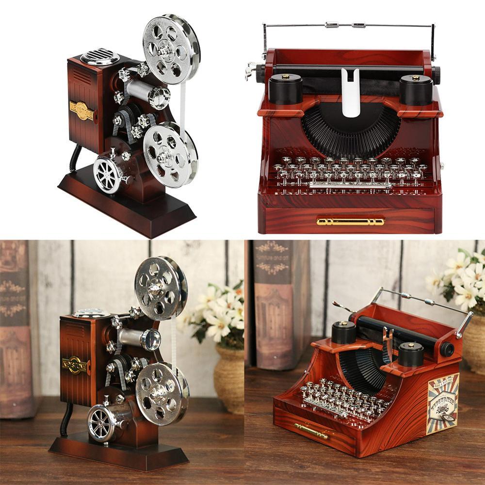 Creative Classic Typewriter Model Music Box Wood Metal Antique Musical Boxes Birthday Wedding Gift T