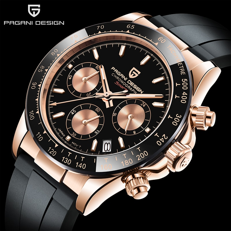 PAGANI DESIGN Top Brand New Rubber Strap Chronograph Watch Men Quartz Wristwatch Luxury Sapphire Glass Sports Watch Men Relogio
