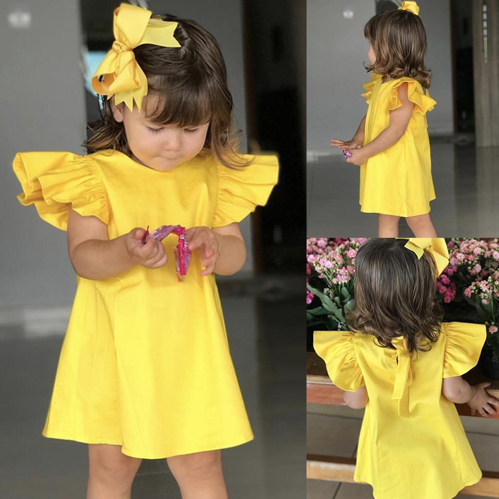 Vestido de verano con lazo liso para niñas, ropa Infantil, vestidos infantiles...