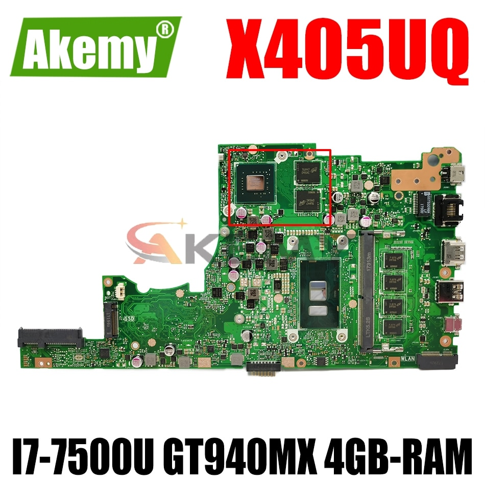 Материнская плата AKEMY X405UQ для ноутбука ASUS VivoBook 14-X405UQ X405U S4100UQ U4100UQ, оригинальная материнская плата 4GB-RAM I7-7500U GT940MX