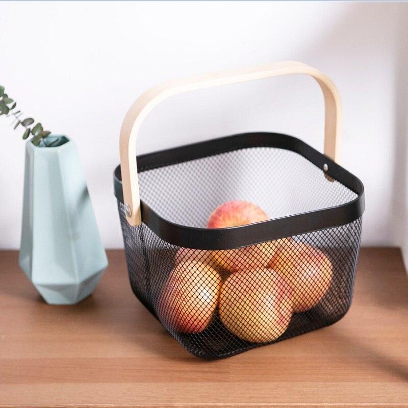 Armazenamento de frutas cesta de ferro forjado lanche cesta de armazenamento de madeira alça de ferro forjado cesta de frutas e vegetais armazenamento de detritos