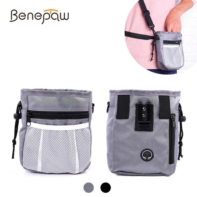 Bolsa Benepaw para tratamiento de perros con dispensador de Bolsa para popó incorporado, bolsa de entrenamiento para perros mascota manos libres, correa ajustable para caminar y correr