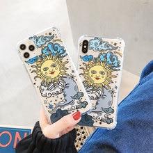 Sinocom funda de teléfono bohemia de sol y luna para iPhone 11 Pro Max 11Pro 6 7 8Plus X XR XS Max transparente funda trasera suave TPU