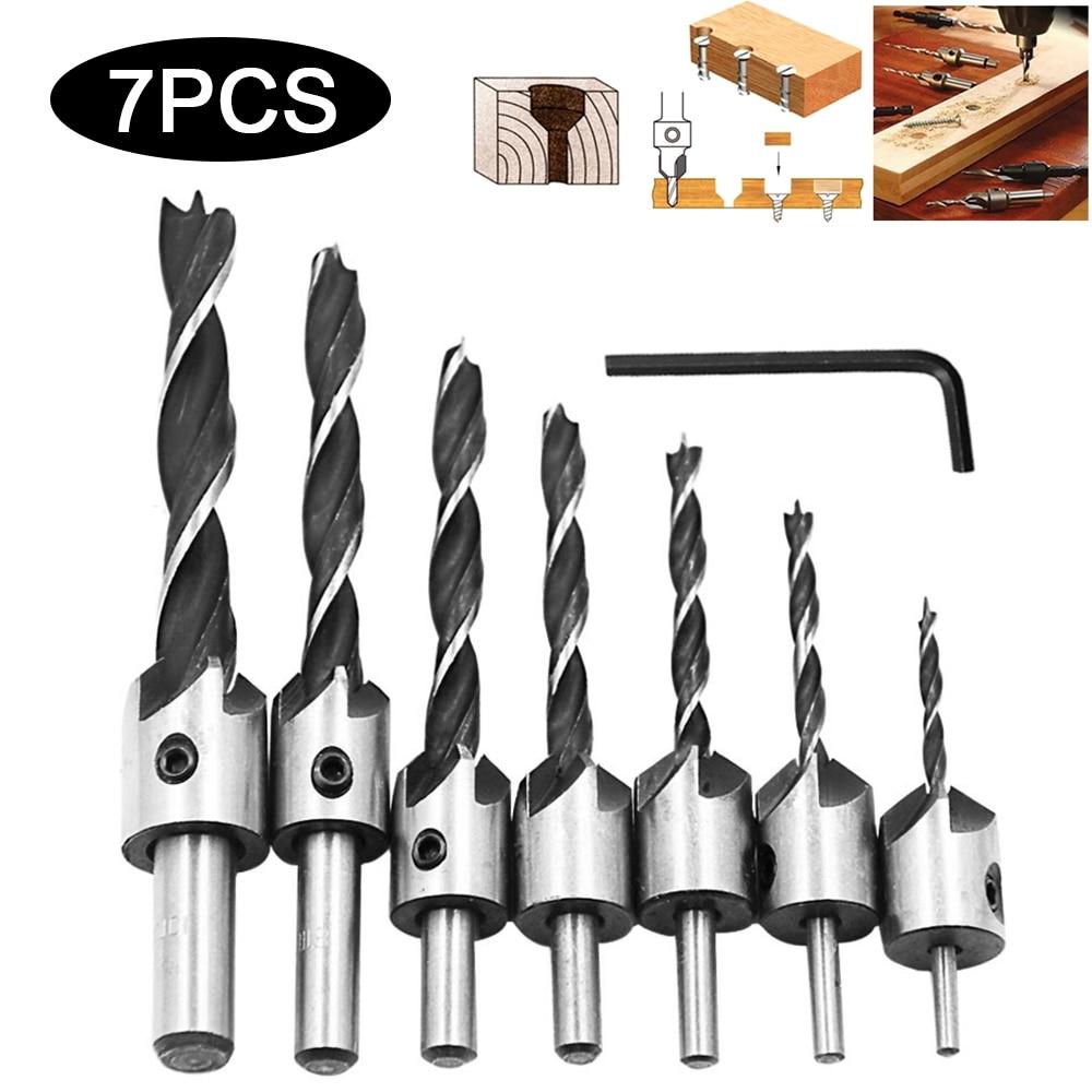 7 pçs flauta bancada brocas bits cabeça escareada conjunto de broca 3 dicas carpintaria broca 3/4/5/6/7/8/10mm carpintaria ferramenta