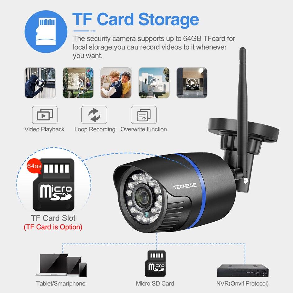 Techege 1080P WIFI IP Kamera Audio Record 2,0 MP Drahtlose Kamera Outdoor Onvif Nachtsicht Wasserdichte Kamera TF Karte RU ES Lager