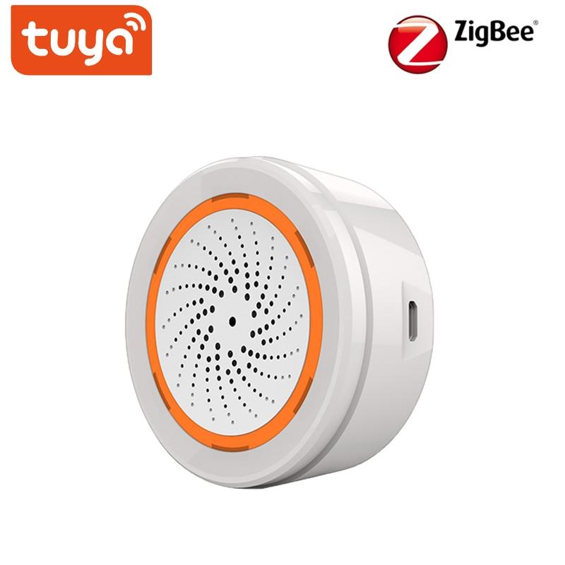 Tuya inteligente sem fio sirene alarme som sensor de luz bateria embutido 3 em 1 zigbee sensor temperatura umidade alarme sirenes
