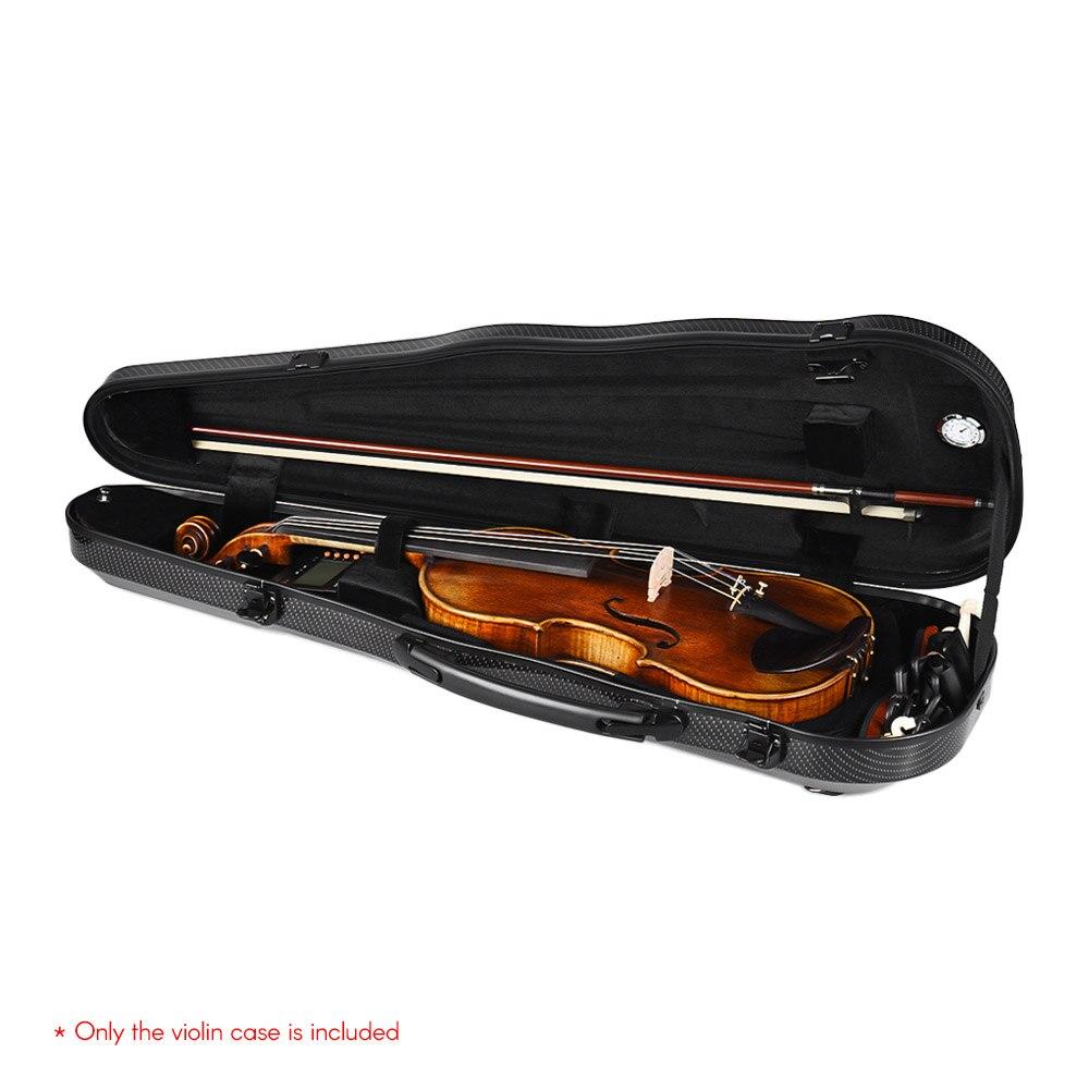 Alta qualidade tamanho completo fibra de carbono casca dura violino caso embutido higrômetro para 4/4 violinos violino cordas peças de instrumento