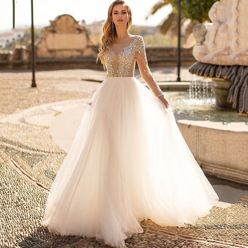 Luxury Wedding Dresses Crystals Beads Vestido de Noiva 2021 A Line Long Sleeve Bride Dress Floor Length Wedding Gowns Rustic