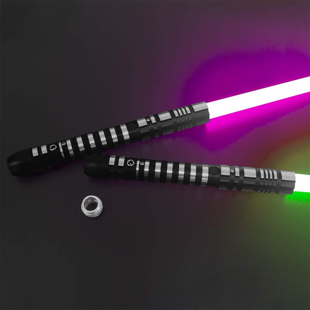 YDD Lightsaber RGB 16 Colors Changing Metal Aluminum Hilt, Ghost Premium Force FX Black Series Light Saber for Adults(Set of 2) enlarge