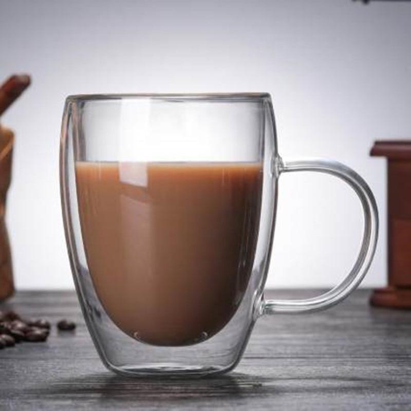 1Pcs Water Bottle Coffee Cup Heat-resistant Double Wall Glass Cup Beer Handmade Milk Lemon Juice Cup Drinkware