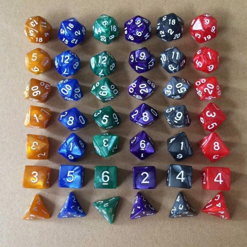 7pcs/set 17 Colors Multifaceted Dice d&d d4 d6 d8 d10 d% d12 d20 Polyhedral TRPG Games Dice Set Board Game entertainment Dice SD