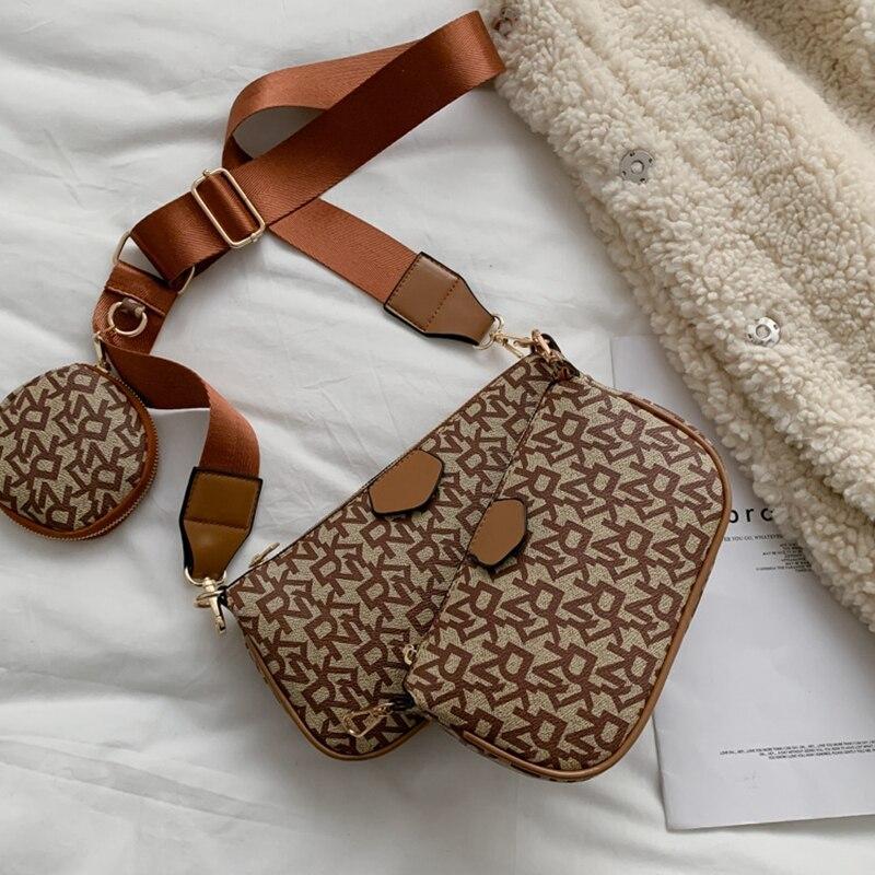 Brand Mahjong Bag Purse 3 In 1 Shoulder Bags Crossbody Designer Handbag PU Leather Tote Bags Fashion Baguette Bag For Women 2021