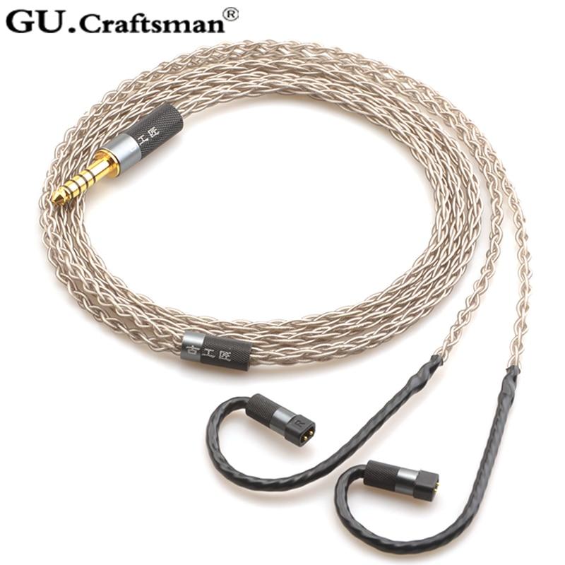 Gutsman-سماعات أذن فضية لـ QDC Anole VX v3 V6 ueRM UE 5pro UE18 pro ، كابل ترقية متوازن ، 8 مراكز ، 2.5 مللي متر ، 4.4 مللي متر