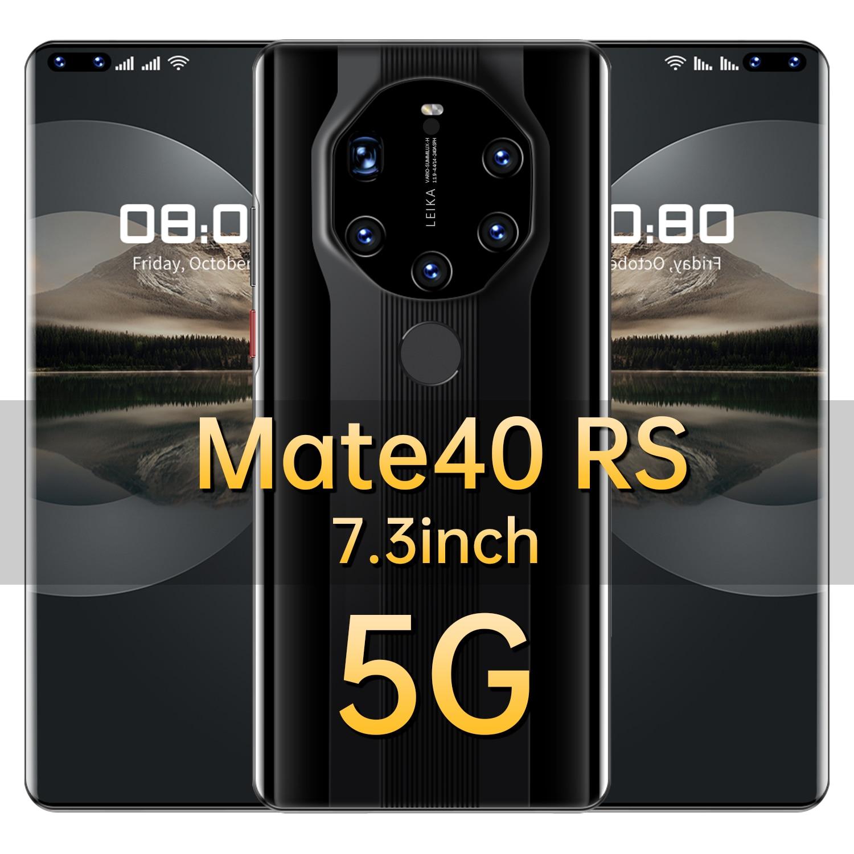 الإصدار العالمي Mate40 RS 7.3 بوصة الهاتف الذكي 16 + 512GB عشاري النواة 6800mAh المزدوج سيم الهاتف المحمول 24 + 50 ميجابكسل دعم الوجه معرف الهاتف المحمول