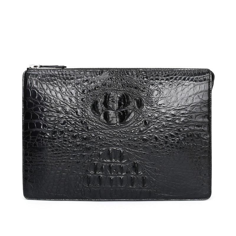 Hot Crocodile leather man wallet bag envelope clip hand grip business luxury mens wristlet New Design carteira masculina purses