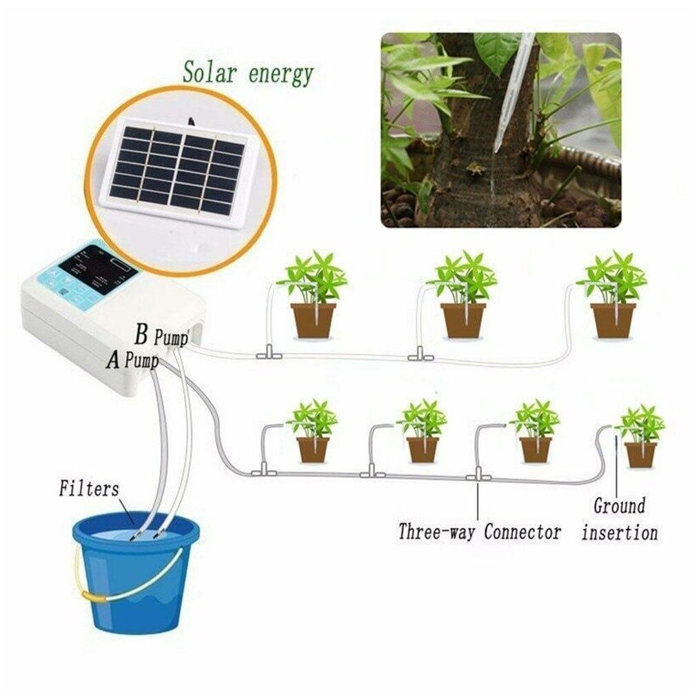 Irrigação ao ar Dispositivo de Carregamento Solar Powered Ferramenta Jardim Fácil Instalar Planta Automática Livre Rega Gotejamento Casa Inteligente Temporizador