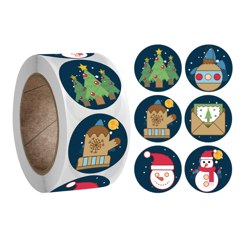 500pcs/roll Merry Christmas Stickers Handmade Sticker Circle Stationery Label Stickers Round Label Packaging Decoration