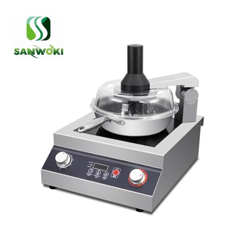 Comercial não-vara fogão robô máquina de cozinhar frigideira panela comida chinesa fogão automático elétrico stir-fritar wok pot