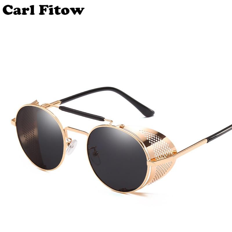 2021 Retro Steampunk Sunglasses Round Designer Steam Punk Metal Shields Sunglasses Men Women UV400 G
