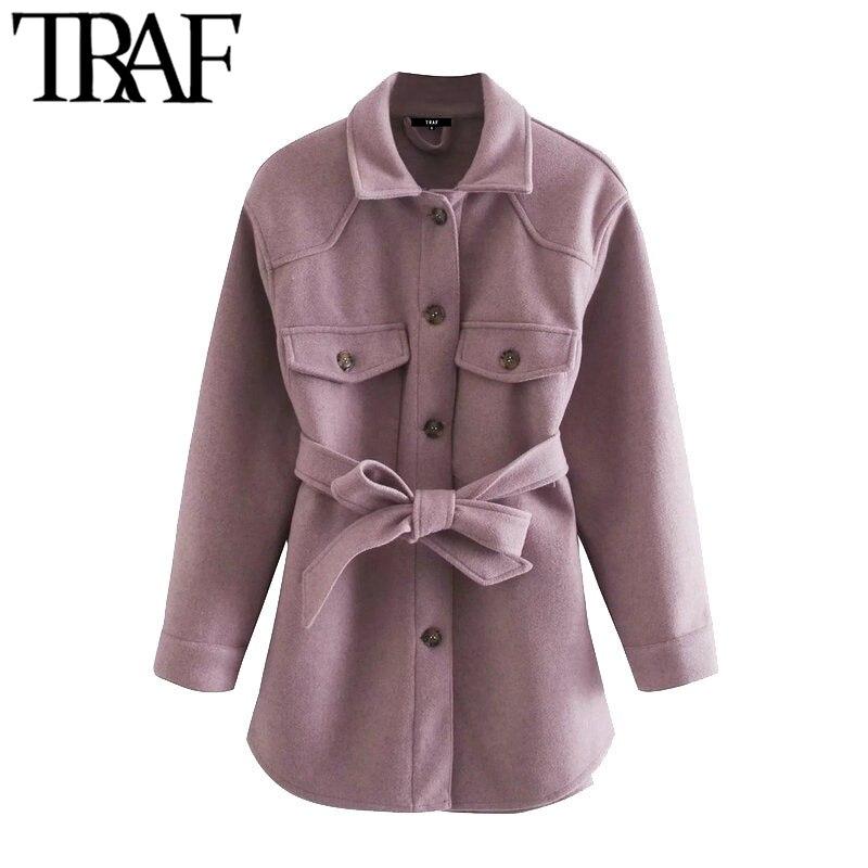 TRAF-جاكيت نسائي بحزام ، معطف عتيق ، أكمام طويلة ، جيوب ، ملابس خارجية أنيقة