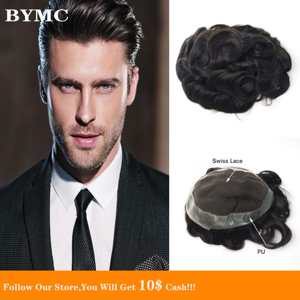 BYMC Swiss Lace With PU Men's Toupee Mongolia Real Human Hair Replacement for Men Hairpiece Black Color Male Wig Natural Looking