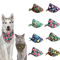 1pc pet dog collar cartoon cute leaves fruits neck scarf puppy polyester soft scarf classic casual neckerchief for dogs