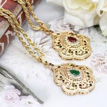 Sunspicems indien bijoux couleur or Long pendentif collier pour femmes ethnique mariage cadeau maroc Caftan métal fleur accessoire