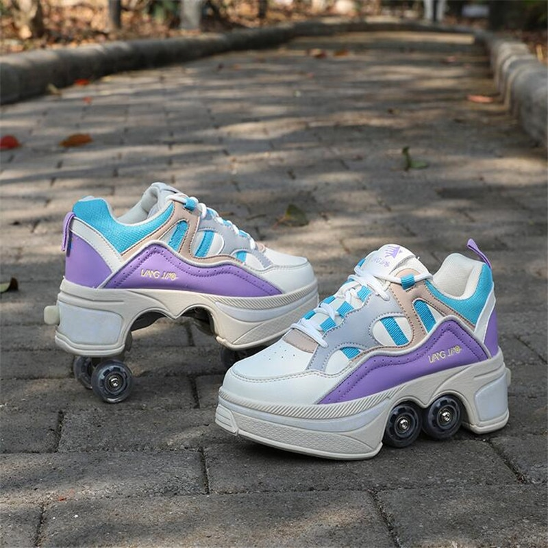 Hot Shoes Casual Skates Deform Wheel Skates For Adult Men Women Couple Shoes Childred Runaway Skates Four-wheeled Walk Sneakers