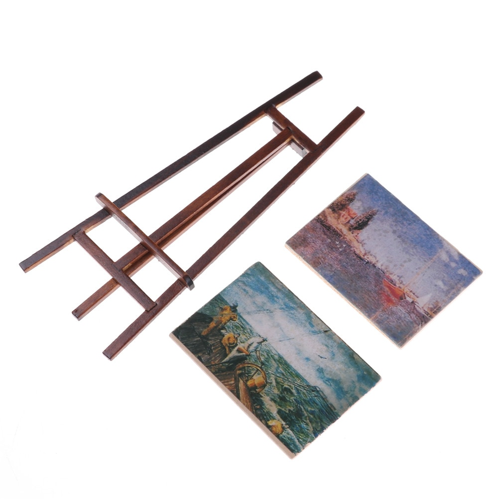 1 Set Artist Easel Stand & 2 Wood Paintings Pictures Mini Artist Easel Wood Wedding Table Card Stand Doll House Display kicute wood artist easel wedding table number place name card photos stand display holder diy party table tools