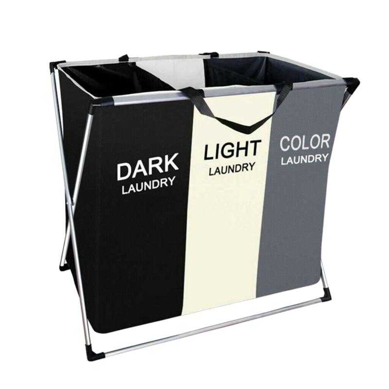سلة الغسيل سلة الغسيل القابلة للطي مع 3 قسم كبير الملابس القذرة فارز