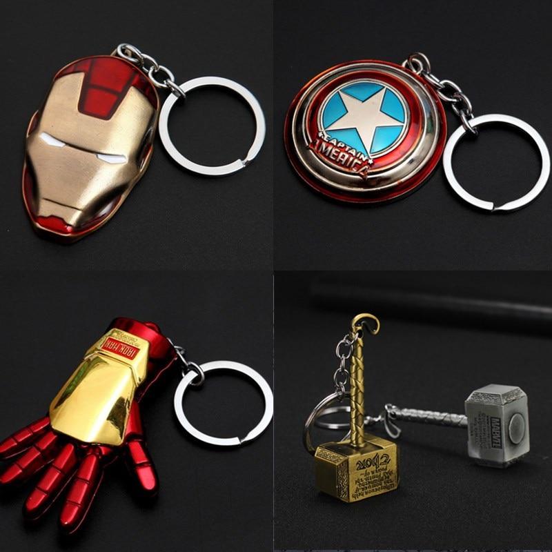 Chaude Thor marteau Batman voiture moto porte-clés Avengers Superman Thanos gant poing métal héros amérique fer homme masque porte-clés