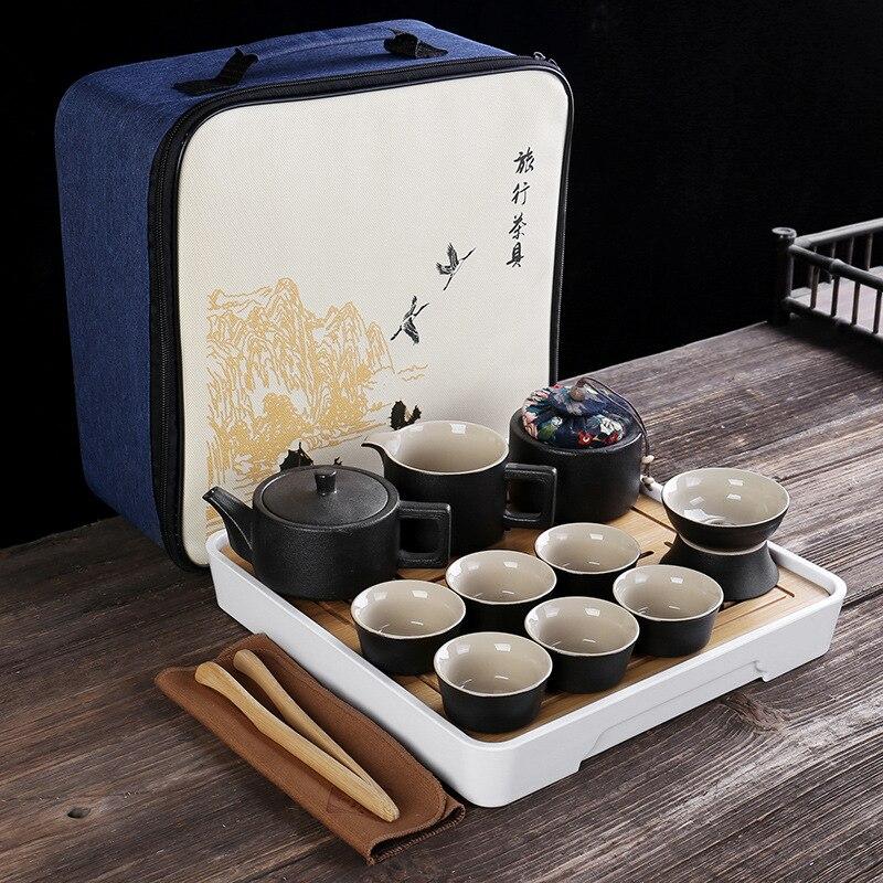 الشاي الصيني السفر طقم شاي الكونغ فو ملعقة صغيرة السيراميك المحمولة إبريق الشاي الخزف مصمم الأسود Gaiwan أكواب شاي المنزل هدية لصديق