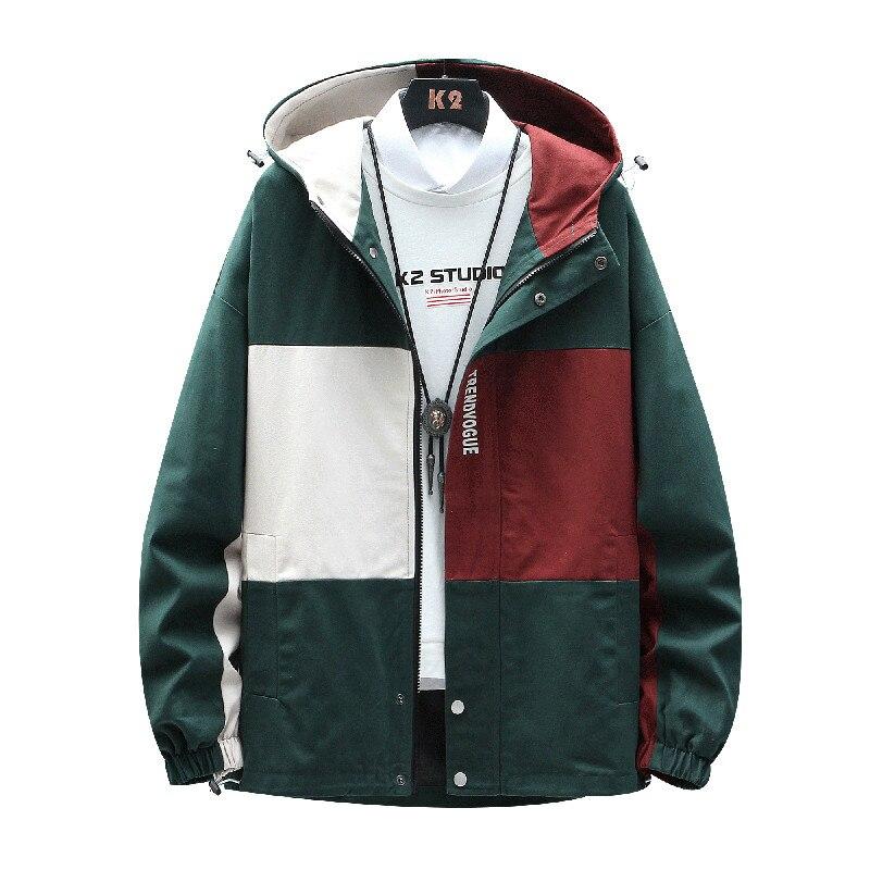 Outono e outono masculino lazer jaqueta com capuz estilo rua hip hop casaco de emenda, moda solta jovem vitalidade roupas