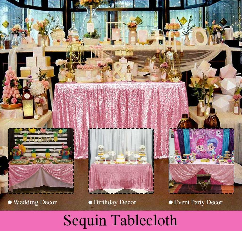 Mantel de lentejuelas doradas y rosas de 60x10 pulgadas, mantel de lentejuelas, manteles de lentejuelas, manteles de mesa dorados y rosas, ropa de hogar con lentejuelas para boda
