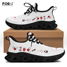 FORUDESIGNS Nurse Tools With Heart Pattern Women Shoes Lace Up Breath Flats Sneaker Outdoor Beach Wa