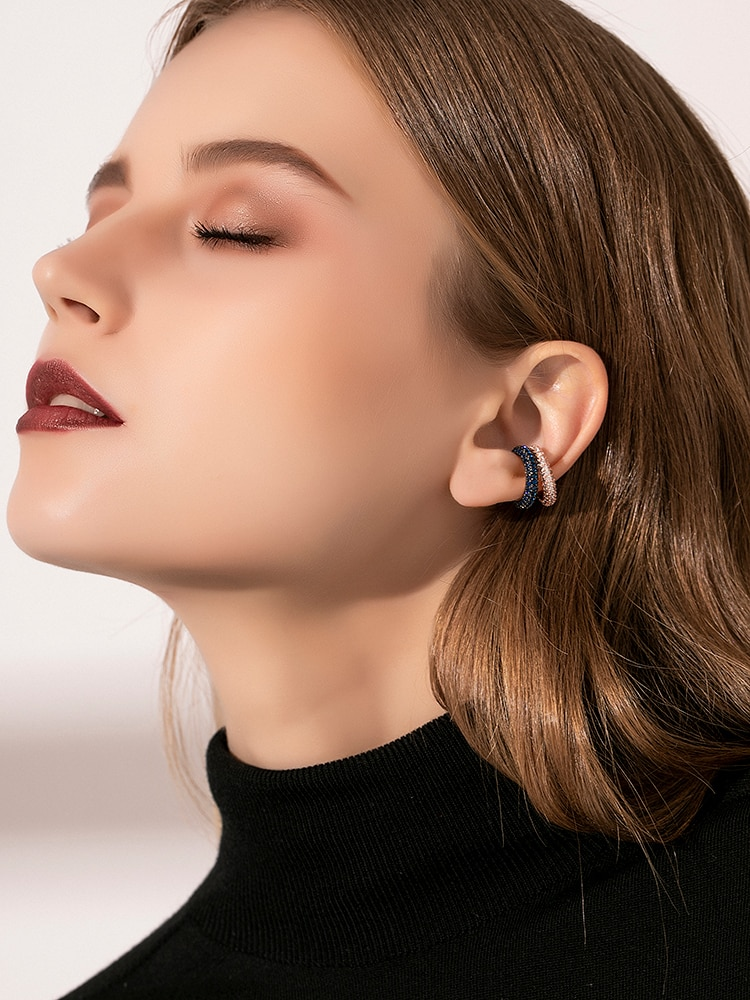 INS لون واحد الماس الراقية قرط كبس دون مثقوب الإناث الأقراط مزاجه الرياح الباردة صافي الأحمر