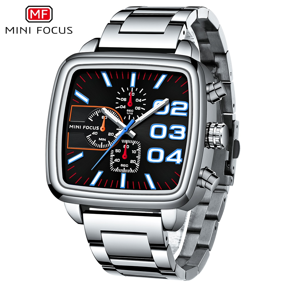 MINIFOCUS رجال الأعمال ساعة كوارتز الفولاذ المقاوم للصدأ العلامة التجارية الفاخرة مضيئة متعددة الوظائف مقاوم للماء ساعة الذكور + صندوق