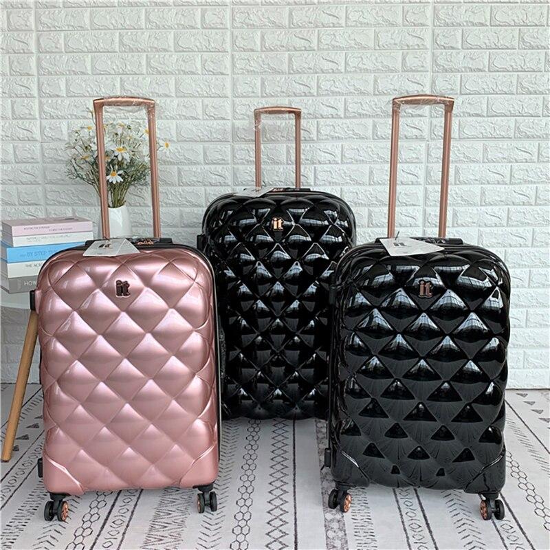British brand original travel luggage sexy diamond-shaped lattice trolley suitcase bag travel trolley box popular luxury valise
