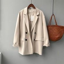 women loose leisure double-breasted coat female jacket 7922#