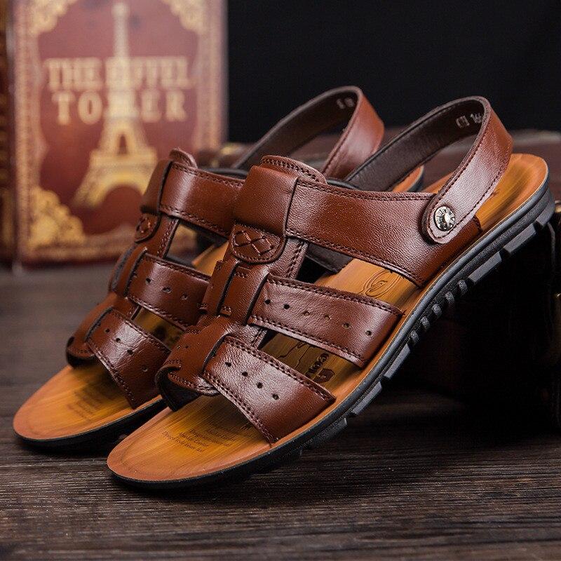 Hot sale Comfortable PU Leather Men's Sandals Summer Soft Men Beach Sandals High Quality Sandals Slippers Black Brown Size 38-47