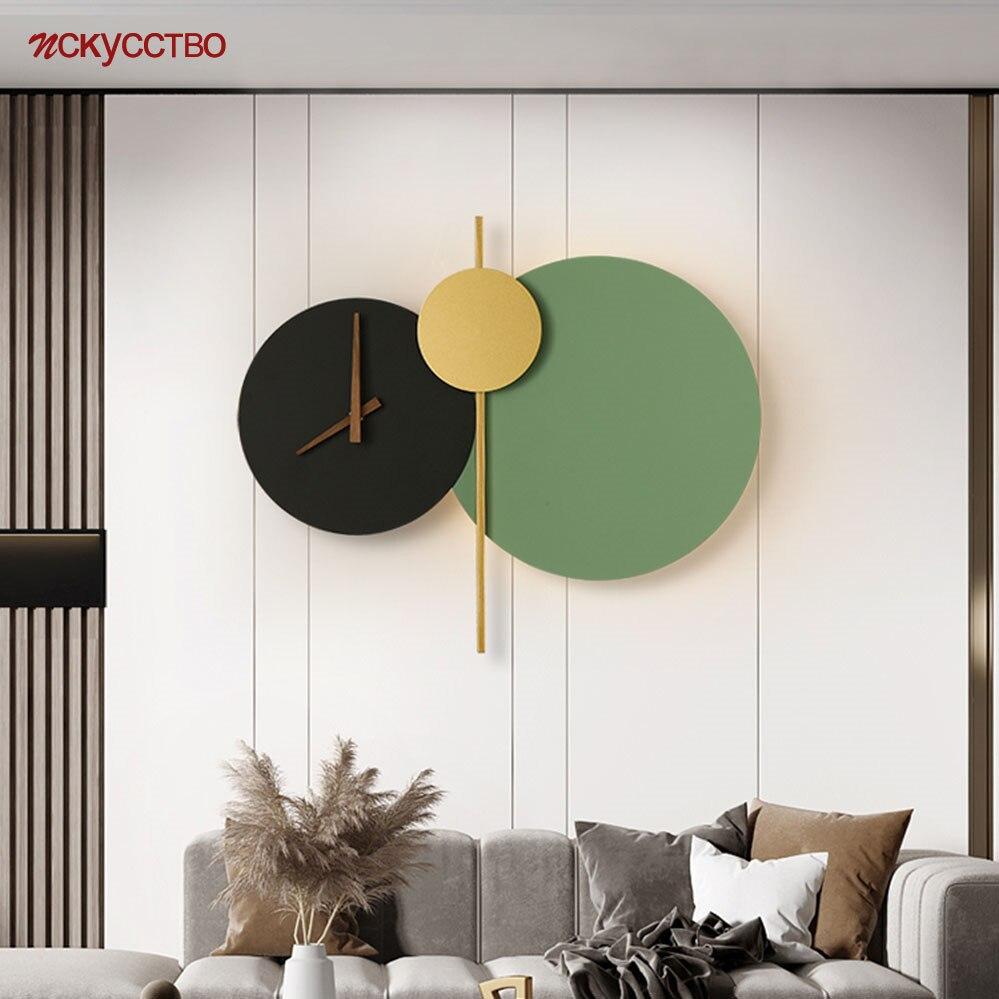 الشمال مصمم المعادن ساعة مستديرة بسيطة وحدة إضاءة Led جداريّة مصباح لغرفة المعيشة المدخل مطعم الفن الشمعدان تركيبات إضاءة ديكور