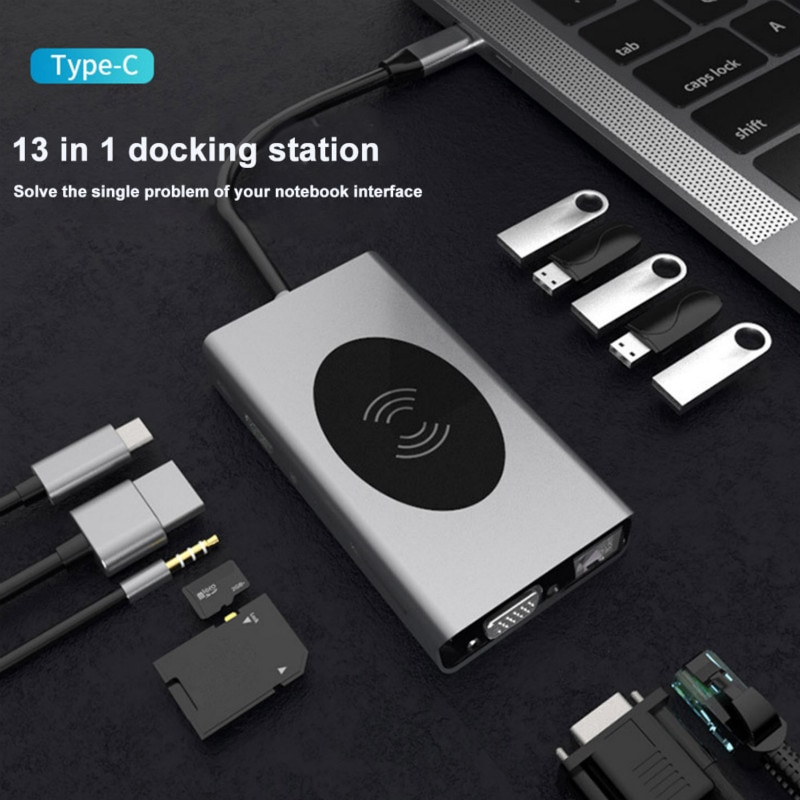 جديد 13 في 1 USB C Hub محطة إرساء الكمبيوتر المحمول 10 واط شاحن لاسلكي 4K RJ45 لجميع أنواع c قناة Hub USB Hub موصلات Cubo