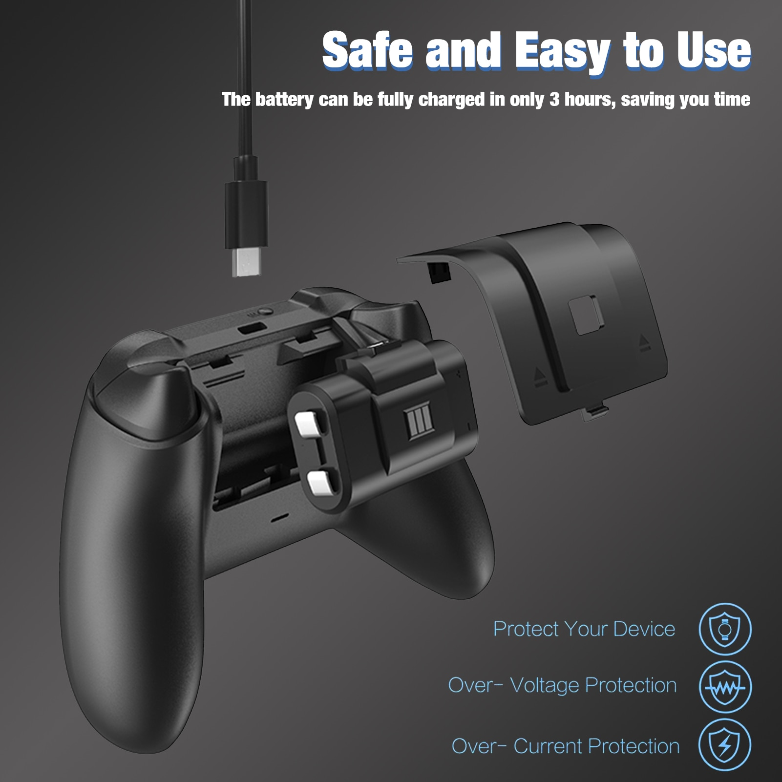 Game Handle Battery Charging Kit For Xbox /Series X Controller Rechargeable Contains 2 1000mAh 2.4v Rechargeable Batteries