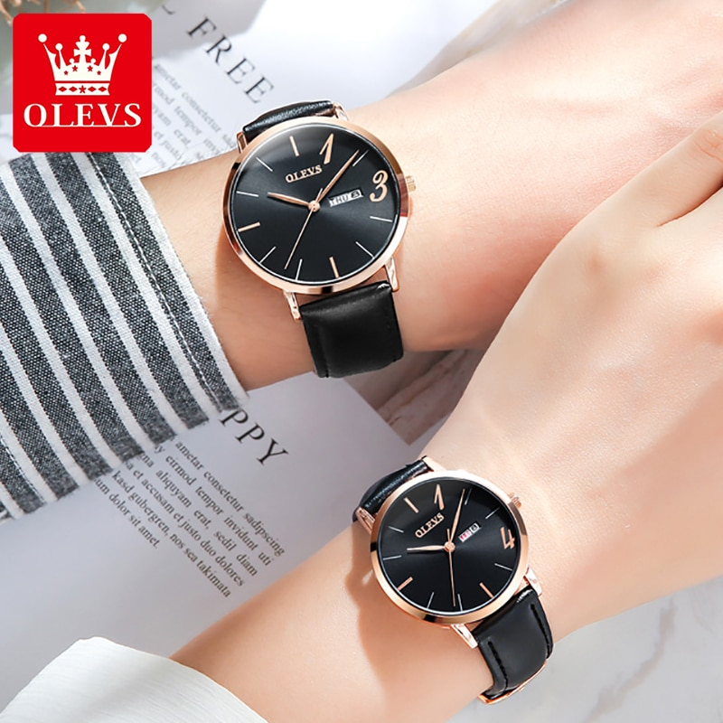 Montre Couple Watches Men And Women Quartz Wrist Watch Leather Paired Watch For Couple Lovers Gift A