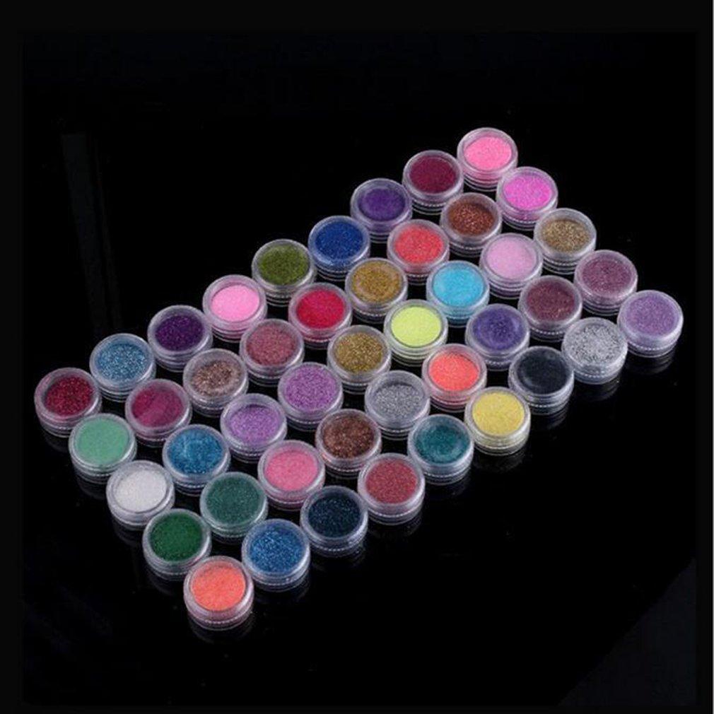 45 unids/set diseño mixto arte de uñas brillo brillante belleza decoración de uñas polvo de brillo para Gel Uv Acrílico