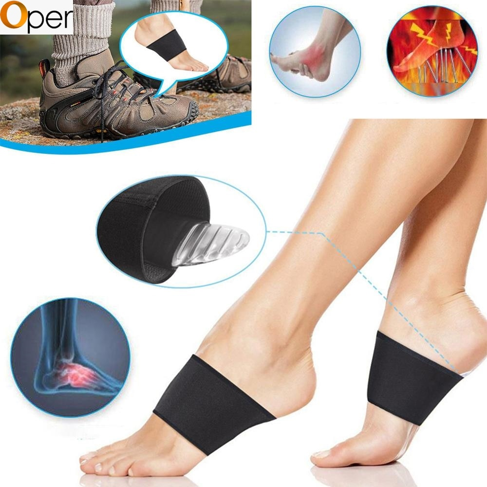 1 Pair Compression Arch Support Brace Set Elastic Foot Arch Pads with Silicone Latex Stripe Gel Pads